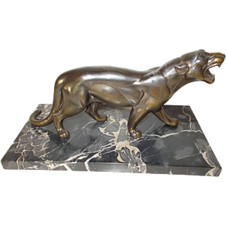 French Marble Base Art Deco Panther.  Spelter Figure