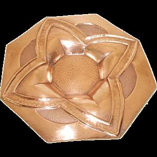 Impressive French ART DECO Copper Charger, Fruit Bowl Centerpiece. Raised Repoussé. Signed Noel Collet. Cuivre D'Art. 1930's