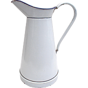 Large Enamel Hotel Water Jug, French Pichet, White with blue rim. 1920's