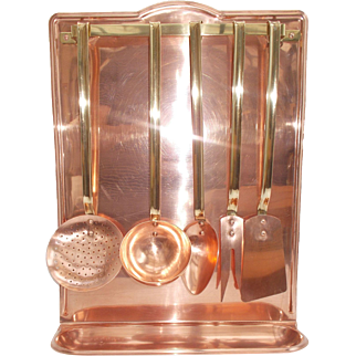 French Copper and Brass Utensil Rack and Tools Set. Copper Kitchen Tools and Hanging Drip Tray
