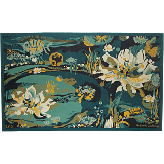 Wall Hanging Tapestry Tapis signed Hervé Lelong. 'Water Flowers'  'Fleurs D'eaux'  Pure New Wool.  1970