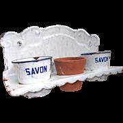 French Enamel Laundry Soap Pot Holder. Lavoir Washing Soap Rack. Herb Pots
