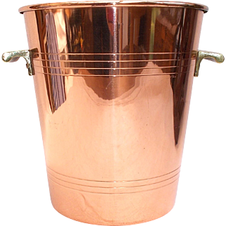 Quality French Copper Champagne Ice Bucket, Wine Cooler, Brass Handles, Tin Lined