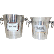 Two Vintage French Laurent Perrier champagne Ice Buckets, Regular & Half Bottles, Wine Buckets