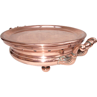 Copper Plate Warmer, 10 inch Food Warmer. Impressive Vintage French Dining Table Centre. Très Jolie