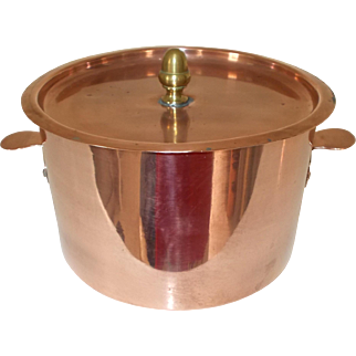 French Copper Charlotte Tin with Lid.  French Copper Cookware.