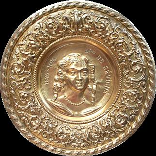 French Copper Wall Plate. Repoussé Copper Plaque, Madame De Sévigné