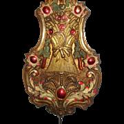 French Clock Pendulum. Beautiful Coloured Floral & Grape Vine Repoussé Bronze/Bronze.