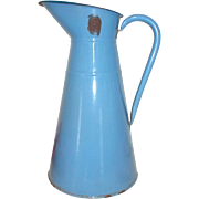 Vintage French Enamel Water Jug, Pichet. French Enamel Water Jug. Pale blue with Darker blue rim.