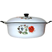 Enamel Casserole with Lid. Pot Roast Pan. Dutch Oven. Mid Century Vintage French Enamel Ware White with flowers. Oven to Table Top