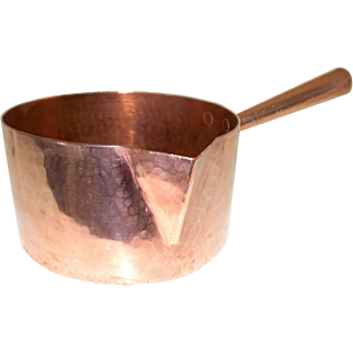 Large 20cm French Copper Sugar Pan, Copper Saucepan, Artisan Made Hammered Copper Confectionery Pan 2.3mm thick