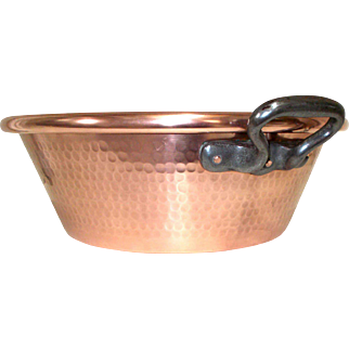 Quality Heavy Vintage French, Jelly Pan, 'Bassine à confiture' Hammered Copper Jam Making Preserve Jam Making Pan. 7.720 lbs