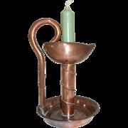 Copper Candle Holder Artisan Made, Vintage French. Tall Copper Candle Holder with French green Candle