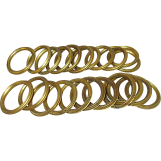 22 Large French Curtain Rings. Pressed Brass/Bronze Curtain rings