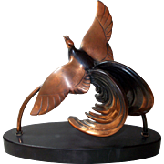 Bird of Paradise Art Deco Sculpture - Signed Limousin