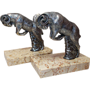 Ram Bookends by M. Moreau.   Silvered Art Deco French Bookends.