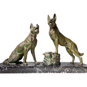 Impressive Wolves Statue.  French Art Deco Spelter Wolves on a Marble.