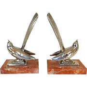French Art deco bookends.  Marble Based Chrome Wagtails Bird Bookends - Red Tag Sale Item