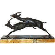 1920's Leaping Impala.   Impressive Art Deco French Sculpture.  Spelter Ornament on Marble Base