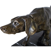 French Art Deco Gun Dog Sculpture, Hunting Dog, Marble Base Spelter dog Figure Ornament c.1930's