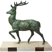 Art Deco Sculpture. Stag on Two Tone Marble Base.  Verdigris Spelter.  Vintage French Ornament c. 1920's