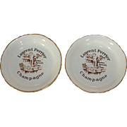 2 Ceramic Laurent Perrier Champagne Cocktail, Payment Dishes. 'Ne Buvez Jamais d'Eau' Never Drink the Water. c. 1950's