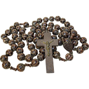 Large Antique French Catholic Hand Carved Wooden Procession Rosary. Early 1900's.  St Hubert Pray for us.