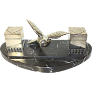 Ink Well. French Art Deco Silver Plated Ink Well. Bird in Flight with two Ink Wells and original Glass Liners. Orfear PARIS Made in France