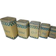 Set of 5 Kitchen Storage Tins. Toleware Canisters. Vintage French, Blue & Cream Check. 1940's