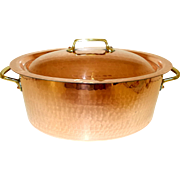 Stunning Chef Quality. Oval French Hammered Copper Faitout Casserole Pot, Stock Pot, Saucepan 2mm copper. 7 lbs