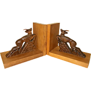 Carved Deer Bookends. Vintage French  VGC.  1950's