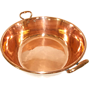 French 'Bassine à confiture' Hammered Copper Jam Making Preserve Pan with Bronze handles. 1940's - 1950's