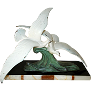 Art Deco Sculpture. Pair of Sea Birds in Flight. Spelter figures on Two Tone Marble Base. 1930's