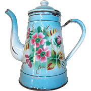 Gorgeous Vintage French Floral Enamel Coffee Pot, Coffee Pot with flowers, Roses.