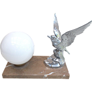 Art Deco Lamp,  Eagle Mood Light. Marble based