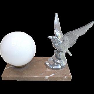 Art Deco Lamp,  Eagle Mood Light. Marble based