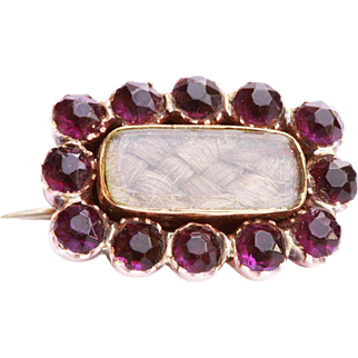 Victorian 9ct Yellow Gold and Amethyst Veil Pin