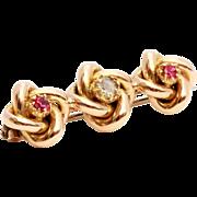 Late Victorian 15 karat Yellow Gold, Diamond and Ruby Bar Brooch