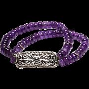 Double Strand Amethyst Bracelet with Vintage Style Center Piece