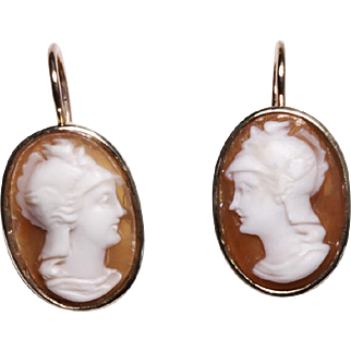 10ct Yellow Gold and Vintage Shell Cameo Drop Earrings