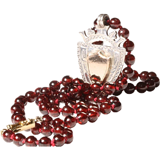 Garnet Necklace with Hallmarked English Silver and 9 karat Rose Gold Medallion