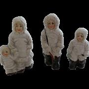 Vintage Bisque Snow Baby Eskimo Family