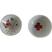 Vintage WWII Japanese Military Red Cross Sake Cups Porcelain