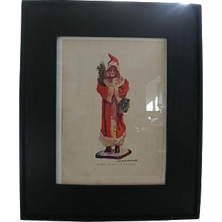 Wonderful Old Vintage Lady Santa Clause Candy Container Print - James Montgomery Flagg