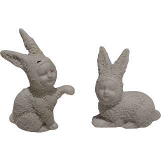 Antique German Bisque Snow Baby Rabbits