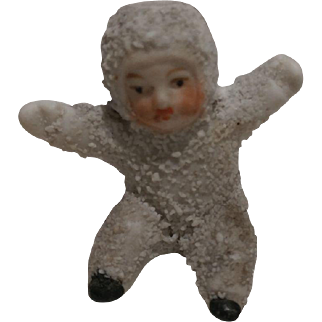 Antique Bisque German Snowbaby Candle Holder