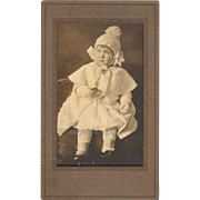 Adorable Little Girl Boots Hat Mittens Fancy Dress Vintage Photograph 1900s