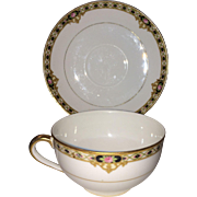 Nippon Marked Noritake Cup and Saucer in The Ceylon Pattern
