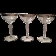 Tiffin Platinum Encrusted Stemmed Cocktail Glasses