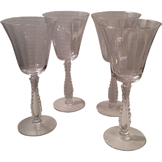 Fostoria Silver Flutes Water Goblets, Set of Four